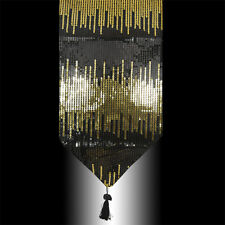 NEW LUXURY SHINY GOLD BLACK SEQUINS DECORATIVE WEDDING TASSEL TABLE RUNNER CLOTH