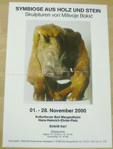 GERMAN EXHIBITION POSTER 2001 - SYMBIOSIS OF WOOD & STONE - MILIVOJE BOKIC