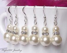 Rhinestones Silver Hook Drop Earrings Women Bridal Wedding Ivory Pearls