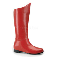 Red Classic 1978 Superman Movie Christopher Reeve Mens Cosplay Costume Boots