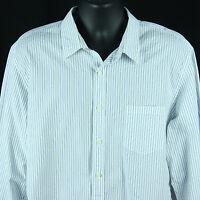 J Crew Mens Size XL 17 17.5 Dress Shirt 2 Ply Cotton White Striped Extra Large