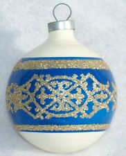 VINTAGE COLBY BLUE GLITTER STENCIL MERCURY GLASS CHRISTMAS ORNAMENT