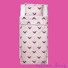 IKEA Silkig Duvet Cover Twin Set Orchid Pink Angel Fairy Scroll Flower Butterfly
