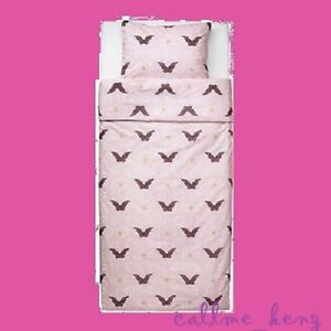 IKEA Silkig Duvet Cover Set Twin Mauve Pink Black Scroll Curlicue Butterfly NEW