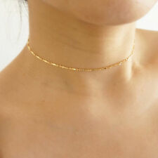 Women Fashion Gold Silver Plated Ultra Thin Crystal Chain Necklace Jewelry