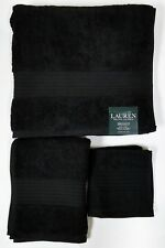 NEW RALPH LAUREN GREENWICH 3 PC SET BLACK,100% COTTON BATH+HAND+WASH CLOTH TOWEL