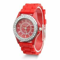 Fashion Women Geneva Silicone Crystal Quartz Ladies Jelly Dial Wrist Gift Watch