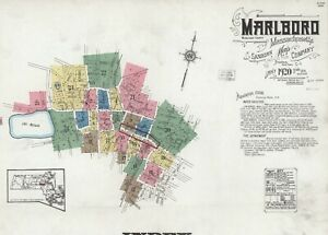 Marlboro, Massachusetts~ about 25 sanborn maps~ on  CD made in 1920 with color