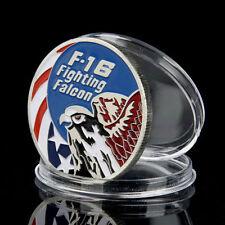F-16 Fighting Falcon / USA - FLUGZEUG - KOLORIERT - MEDAILLE - SILBER AUFLAGE