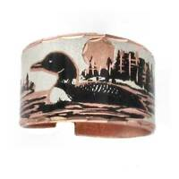 Solid Copper Ring Loon Lake Silver Plated Handmade Jewelry Adjustable Size Band