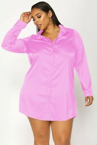 Women Pink Satin Plus Size Shirt Long Blouse Solid Collar Casual Party Wear Top