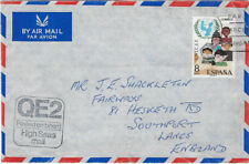 MARITIME : 197?- QE2 Airmail envelope+ paper  to London from Spain - cachet
