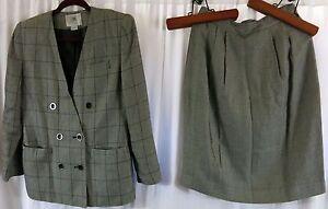 Amanda Smith Petites Gray Plaid 6 Skirt Suit Wear to Work Rayon
