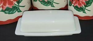 2pc Vintage Pyrex Milk Glass Opal Frost White 72-B Butter Dish w/Lid USA 1/4 lb.