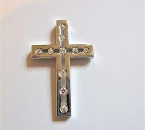 STERLING SILVER LARGE CUBIC ZIRCONIA SET CHRISTIAN CROSS SLIDER PENDANT