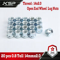 EZAccessory 32 Long Open End Bulge Acorn Lug Nuts 14x2 Thread 3//4 Long 1.9 Chrome