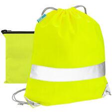 Reflektierender Sportbeutel mit Tasche Rucksack Reflektor Schule Turnbeutel Gelb
