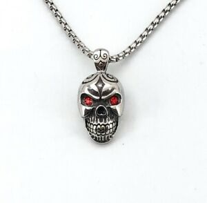 "Skull Skeletons Stainless Steel Pendant Necklace With 28"" Chain & 1""x1.5"" Skull"