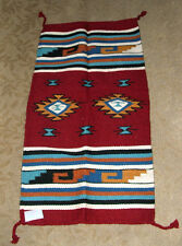 """Throw Rug /  Tapestry Southwest Western Hand Woven Wool 20x40"""" Replica #423"""