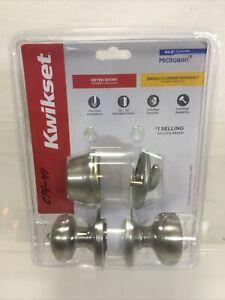 """Kwikset Door Knob Single Deadbolt 1.75"""" W 1"""" Satin Nickel #690CV 15 CP K6 E14-41"""