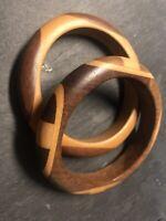 Vintage Modernist Wooden Bangles Light & Comfortable fits a medium wrist 6.5cm