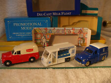 3x Promo 1:43 Models 2x Morris Minor Vans Co-op / Unigate & Milk Float Co-op
