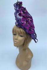 Women's Handmade Purples Orchid Hatinator Hat Mother Of The Bride Weddings Races