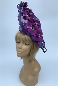 Women's Handmade Purples Orchid Hatinator Hat Mother Of The Bride Weddings Races