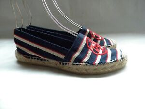 Tory Burch Logo Espadrille Flats Blue & Red & White Stripe Canvas Size 9