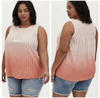 New Torrid 00 10 Coral Stripe & Ombre Smocked Henley Tank Stretch NWT