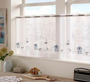 Seaside Design Cafe Curtain Panel white ready to hang