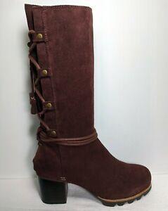 SOREL Farah Back Lace Up Cordovan Boots Women US 8