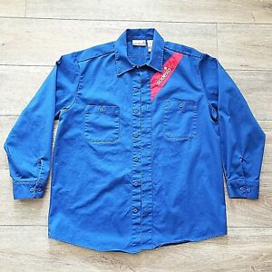 Worn Once SODEXO ATPV-8 FR FIRE RESISTANT BLUE LONG SLEEVE BUTTON SHIRT - LARGE