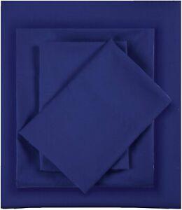 """Intelligent Design Navy 4 Piece King Wrinkle Resistant 12"""" Pocket Sheet Set NWT"""