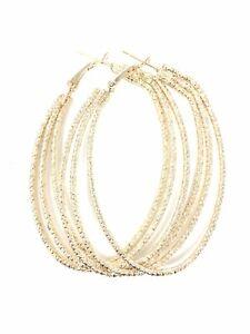 E83 Yellow Gold Plated Triple Oval Hoop Dangle Drop Earrings