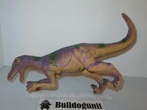 "Big Vintage Velociraptor Raptor Dinosaur Purple Green 10"" Figure Plastic"