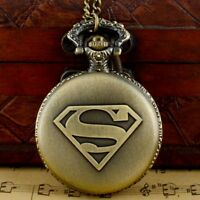 Vintage Quartz Pocket Watch Superman Roman Dial Pendant Antique Necklace Chain