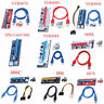 USB3.0 PCI-E Riser Card 1x to 16x Extender Riser Card Adapter Power Cable Lot