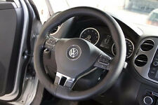 New BLACK Leather Steering Wheel Cover With Needles & Thread DIY SIZE M USA
