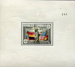 Z_1830 1938 Spain USA constitution overprint RARE SHEET 145/500 CERTIFICATE MH