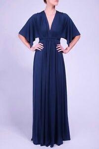 RACHEL PALLY Eclipse Blue Soft Jersey Grecian Goddess Long Caftan Maxi Dress M
