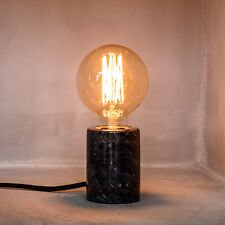 Black Marble Base Modern Bedside Table Lamp Light with E27 6W LED Filament Bulb