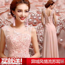 2017 pink Long Chiffon Bridesmaid Evening Formal Party Ball Gown Prom Dress