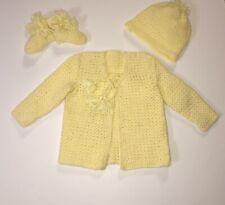 Handmade Crocheted Newborn Baby Yellow 3 Piece Layette Set