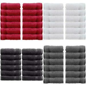 12 Pack Luxury Cotton Washcloths Large Spa Bathroom Face Towel in Multiple Color