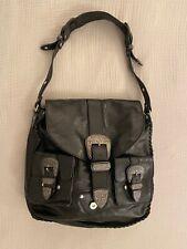 ETRO Bag Black Leather Silver Shoulder Large Logo RARE