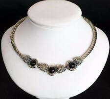 FLLI MENEGATTI ITALY 925 STERLING SILVER ONYX TWISTED CABLE NECKLACE 16.5""