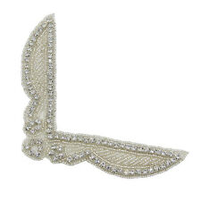 Crystal Rhinestone Neckline Collar Applique Silver Beaded Bridal Sash Patch DIY