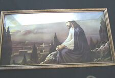 """Jesus Christ Praying Wood Frame Picture 25 1/4 WIDE"""" Mountain Sunset Moon OLD"""