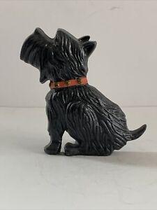 Vintage Cast Iron Scottish Terrier Scottie Dog Door Stop Red Collar